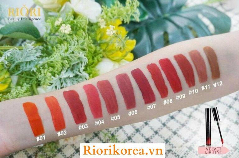 Son kem lì Velvet Lip Tint Riori có 12 màu để cho các bạn lựa chọn