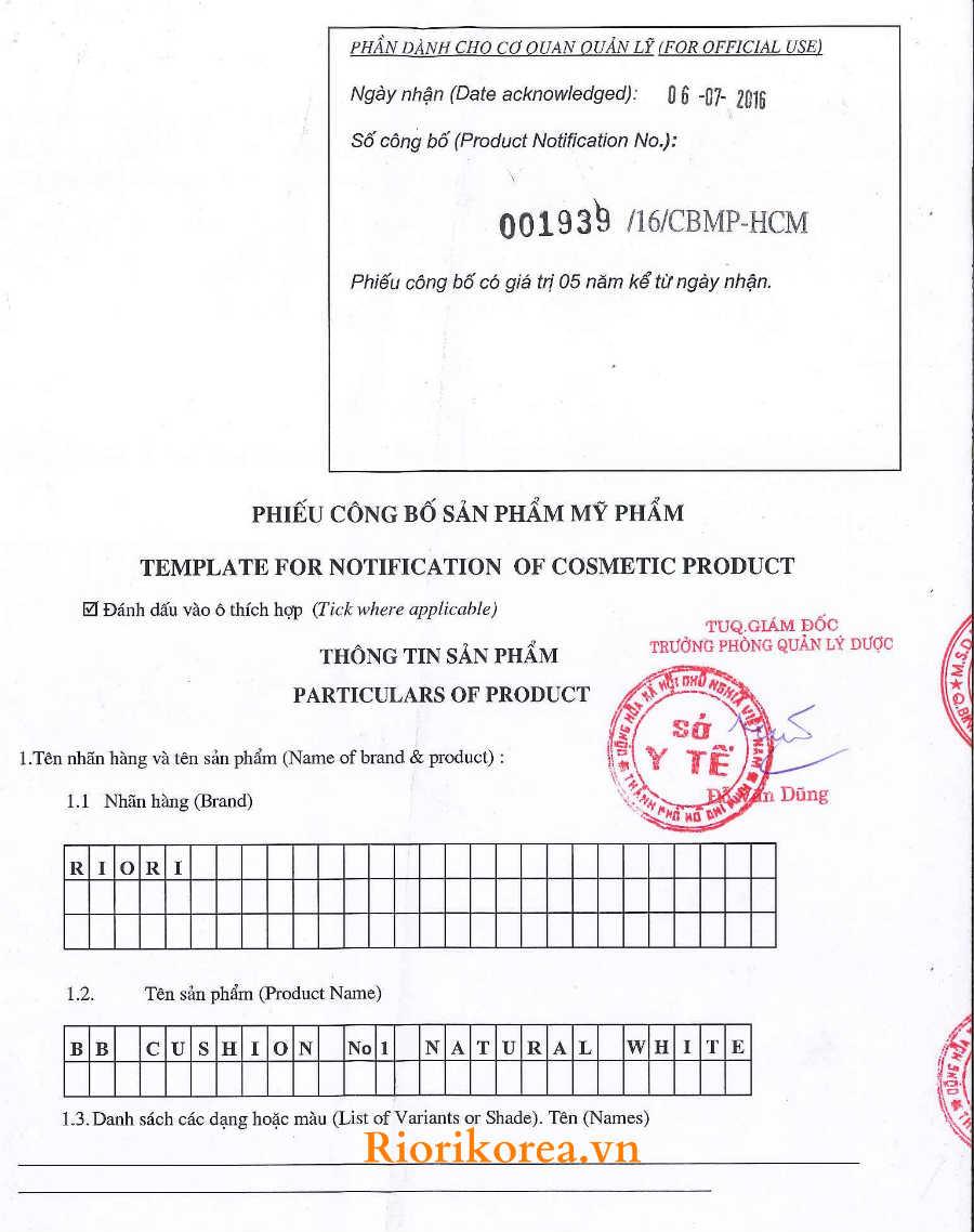 Phiếu kiểm định phấn nước che khuyết điểm Riori BB Cushion đạt chuẩn an toàn và công bố lưu hành trên toàn quốc