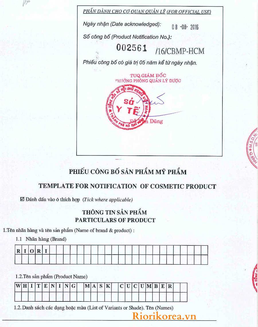 Giấy kiểm định mặt nạ dưỡng ẩm trắng da dưa leo Riori đạt chuẩn an toàn và công bố lưu hành toàn quốc
