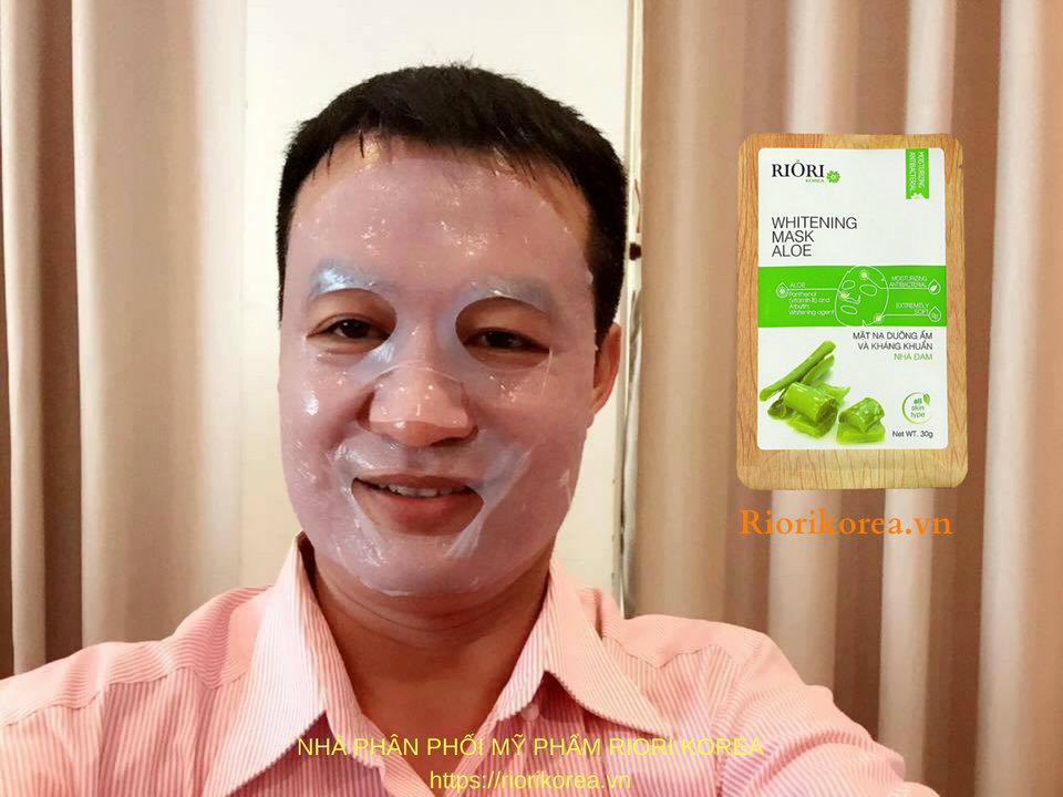 Mặt nạ dưỡng ẩm trắng da nha đam Riori Mask Aloe trị mụn và thâm nám tốt nhất