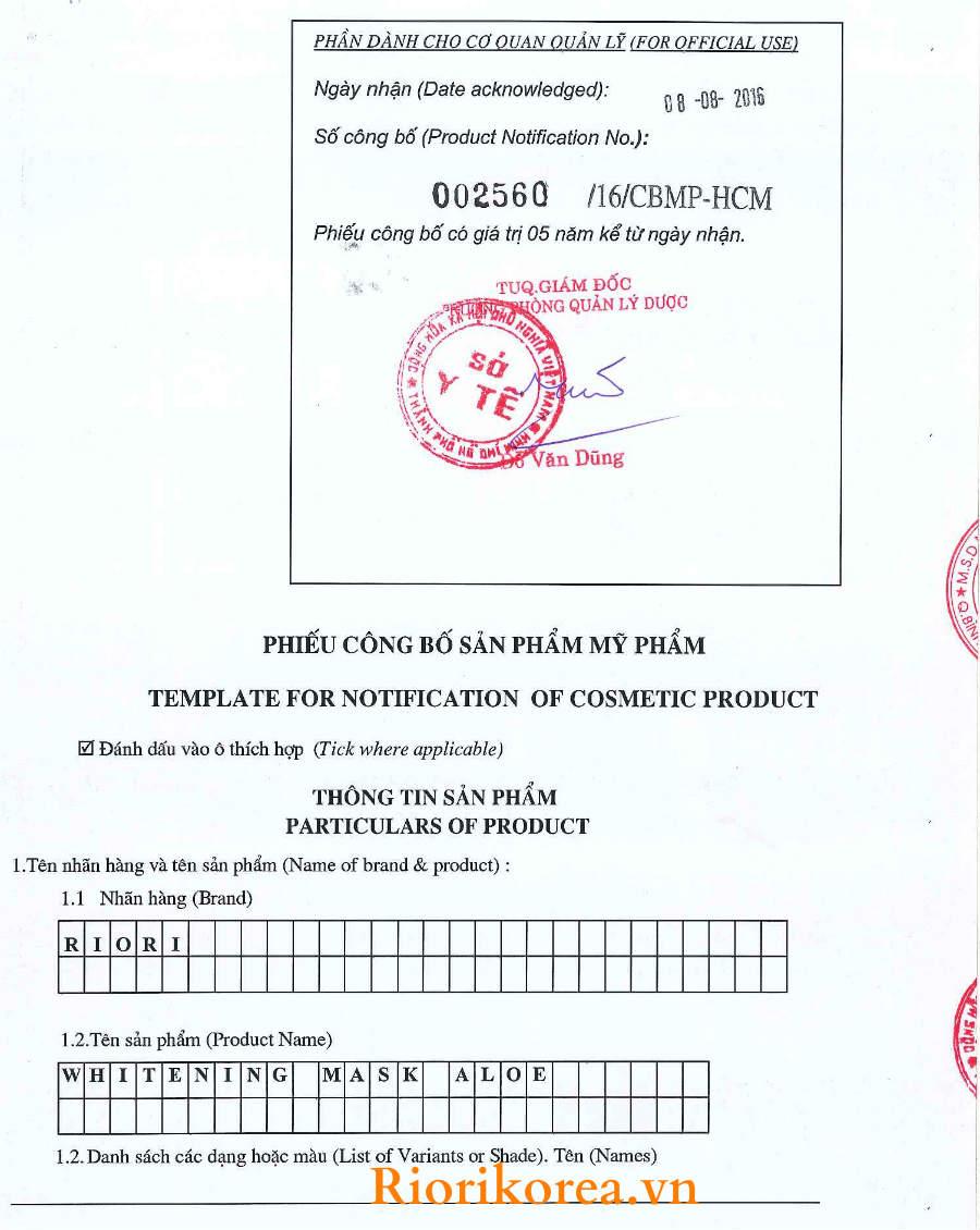 Phiếu công bố mặt nạ dưỡng ẩm trắng da nha đam Riori Mask Aloe được phép lưu hành trên toàn quốc