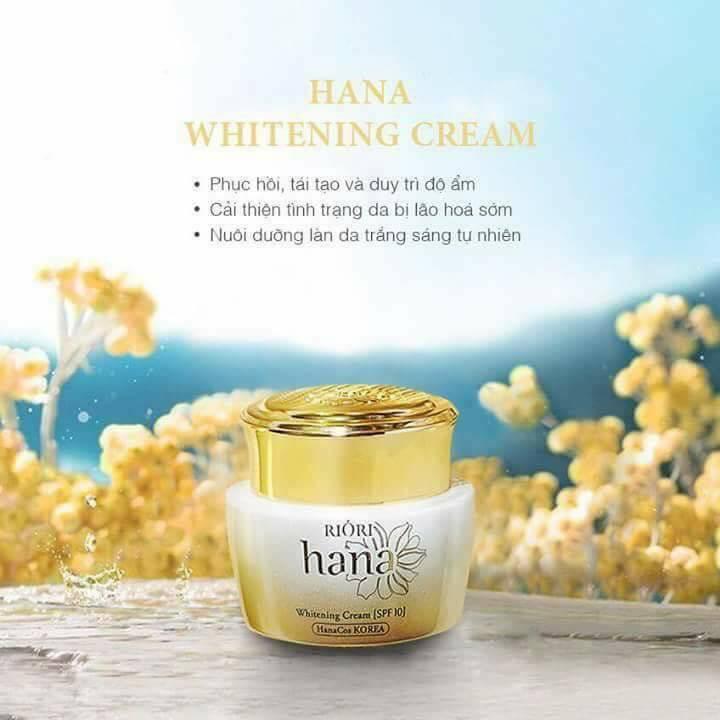 Kem dưỡng trắng da Riori Hana Whitening Cream cải thiện tình trạng da bị lão hóa sớm