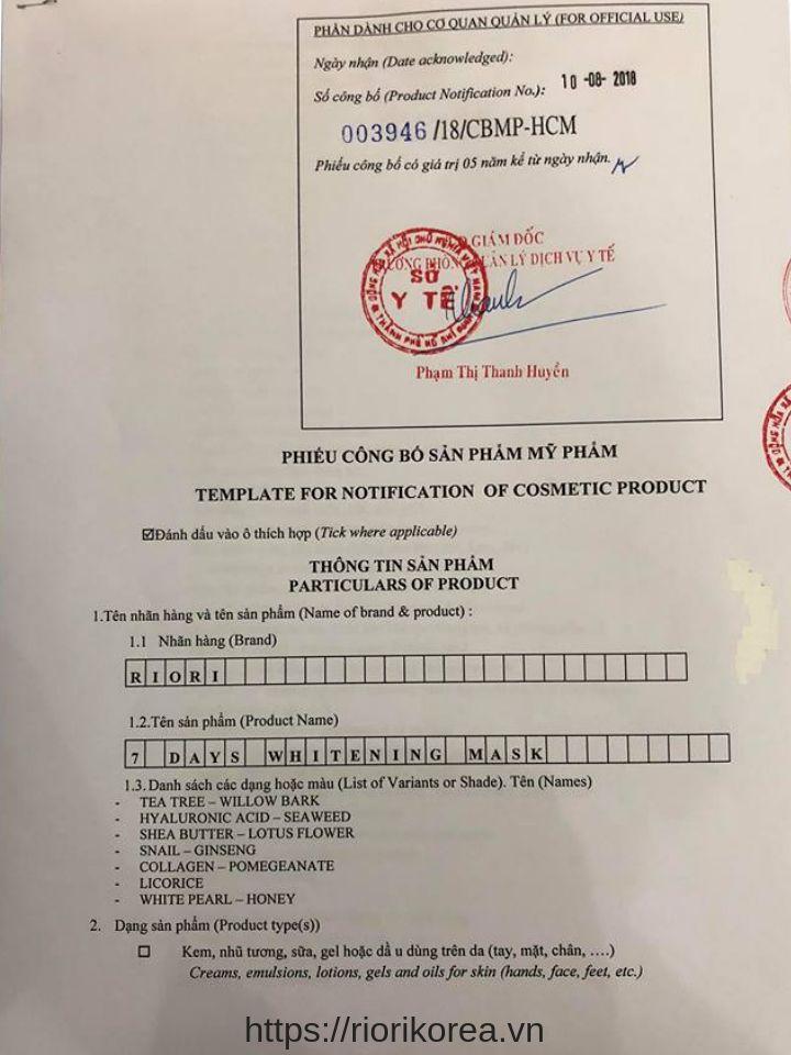 Giấy công bố của Sở Y tế TpHCM khẳng định sự an toàn của mặt nạ giấy 7 days mask Riori