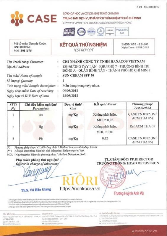 Kết quả thử nghiệm sự an toàn của Kem Chống Nắng UV Sun Block Cream Riori