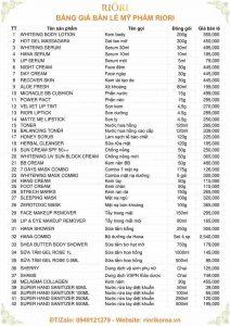Bảng giá Mỹ phẩm Riori Hàn Quốc mới nhất 2020