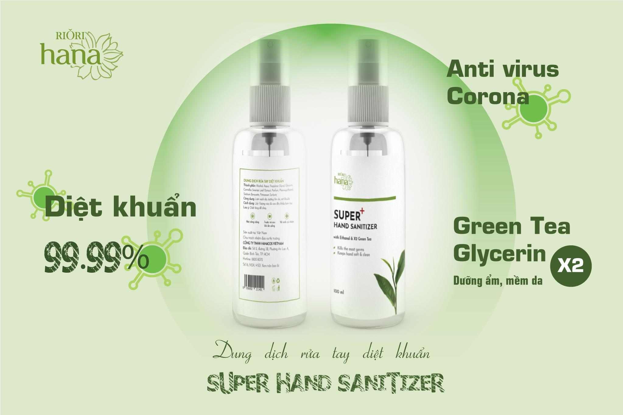 Nước rửa tay diệt khuẩn Super Hand Sanitizer Riori